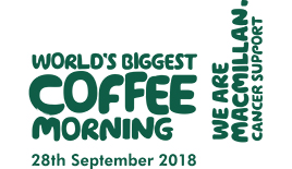 We are Macmillan. Cancer support. World's biggest coffee morning. 28th September.